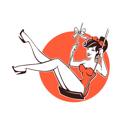 sexy and beauty retro pinup girl for your logo or label design 일러스트