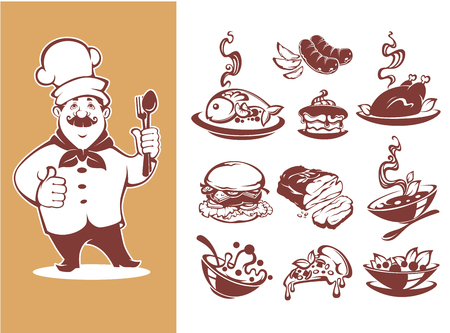 Large collection for your menu, chef, breakfast, soup, main, course, salad, desert Иллюстрация