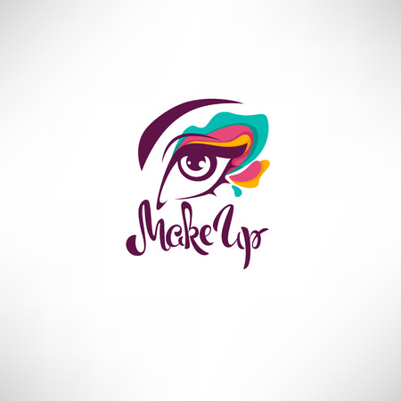 Woman eye with bright makeup and lettering composition for your logo, label, emblem