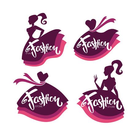 collezione vettoriale di boutique di moda e logo del negozio, etichetta, emblemi con sagome di donne, abiti luminosi e composizione di lettere Logo