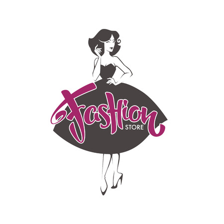 Fashion Store, new look style girl, vector retro lady for your logo, label, emblem