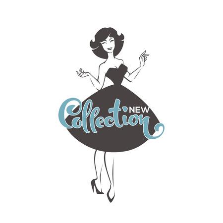 Neuheiten der Kollektion, Mädchen im neuen Look, Vektor-Retro-Dame für Ihr Logo, Etikett, Emblem