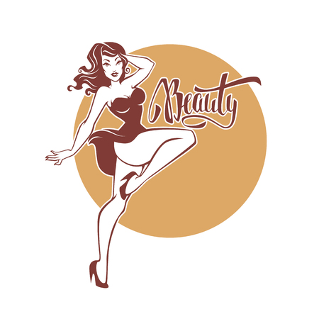 sexy and beauty retro pinup girl and lettering beauty  イラスト・ベクター素材