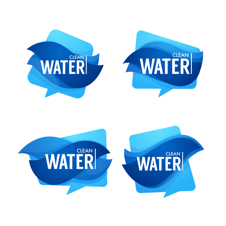 natural spring water, vector  , labels and stickers templates with aqua drops Standard-Bild - 105015328