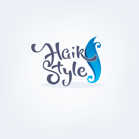 Hair Style, handdrawn lettering composition and hair