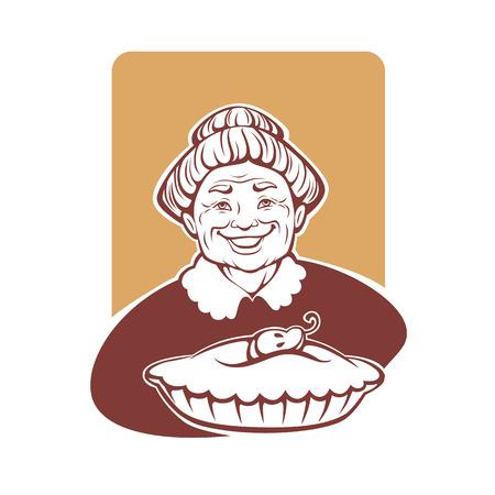 vector, retrato, de, encantadora, abuela, y, casero, pastel Ilustración de vector