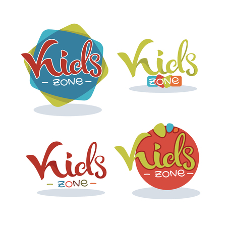 Kids Zone, playful lettering composition, vector collection