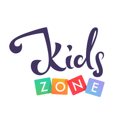 Kids Zone, playful lettering composition Stock Illustratie