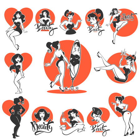 beauty and sexy, large collection of pinup girls and lettering compositions Stock Illustratie