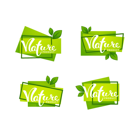 Nature Product, Handdrawn Lettering and Bright Green Leaves, Labels Collection