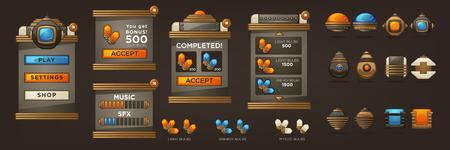 Steampunk Full Asset do gry mobilnej, retro futurystyczne obiekty mechaniczne i kolekcja UI