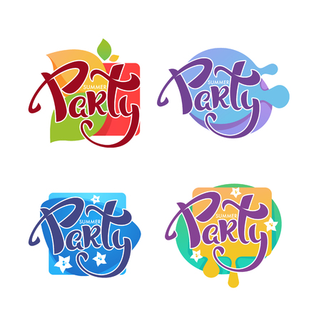 Summer Party stickers and badges vector collection