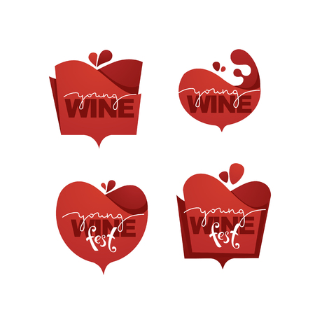 Young Wine Fest, red wine  , emblems, labels Stock Illustratie