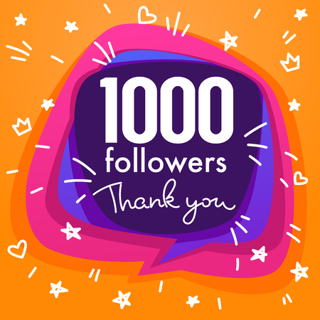 1000 followers , thank you banner, stars, confetti and lettering composition