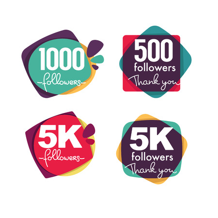 1000 followers and members , thank you frames, bubbles and banners, with lettering composition Illustration