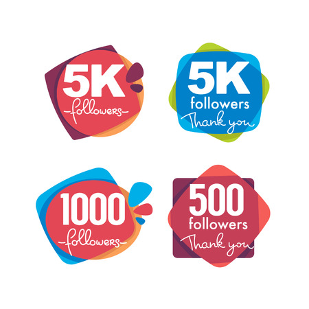 1000 followers and members , thank you frames, bubbles and banners, with lettering composition Иллюстрация