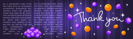 Thank you lettering coins and diamonds Ilustrace
