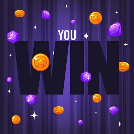 You Win, congratulation bright and glossy banner with gems, coins and lettering composition on violet background Ilustração