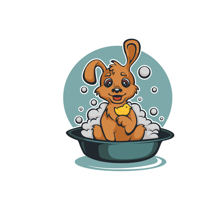 Wash Your Pet, Funny Cartoon Baby Dog Taking a Bath 矢量图像