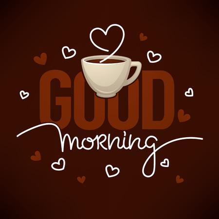 Cita de buenos días para tu cuenta de redes sociales con imagen de taza de café y composición de letras Ilustración de vector