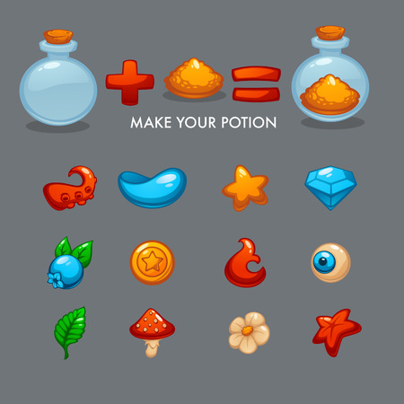 Make Your Potion, Vector Mobile Game Alchemy Constructor