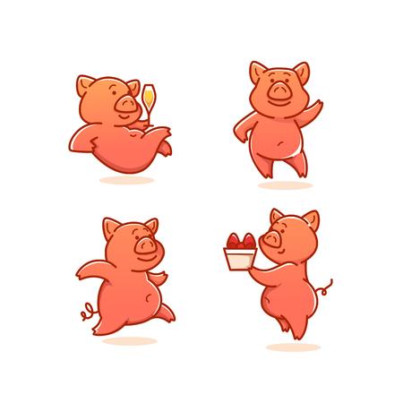Icono de cerdo divertido Ilustración de vector