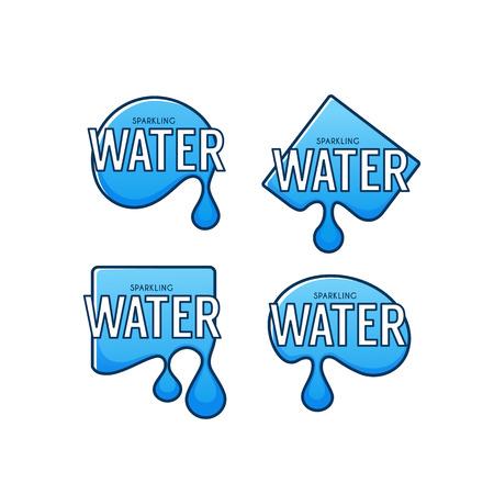 Natural spring water templates with aqua drops Illustration
