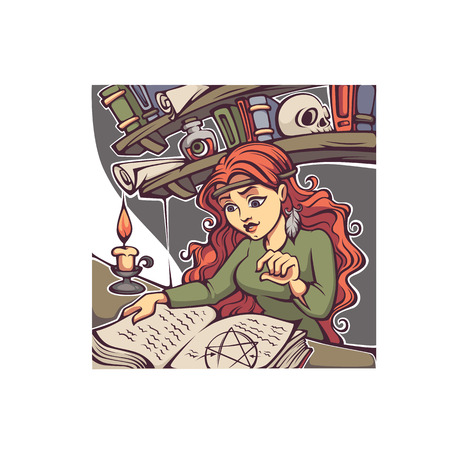 Studing Witch, young lady reading a magic book