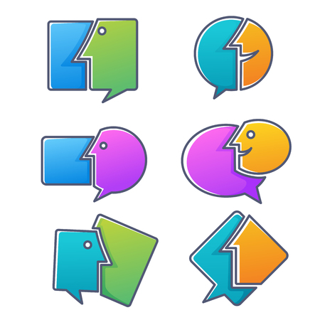 Collection of talking, speaking, chatting and communication icons Banco de Imagens - 108797597