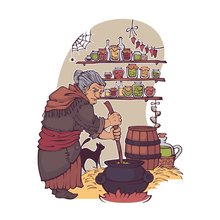 Working Witch, old lady making a magic potion 向量圖像