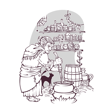 working witch, old lady making a magic potion, page for your Halloween coloring book