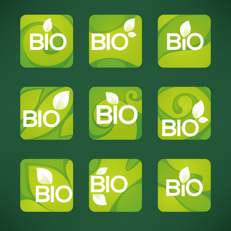 Bio Product,  organic leaves emblems