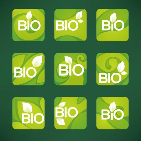 Bio Product,  organic leaves emblems