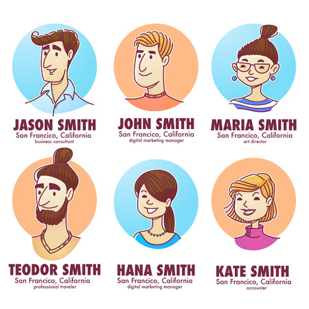 young professionals, doodle people avatars for your social network, vector men and women