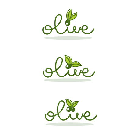 Light and simple olive oil label design Иллюстрация