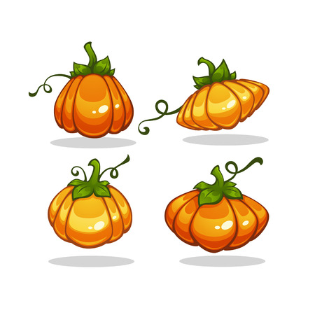 Shiny Cartoon Pumpkin, vector collection for your Halloween design Illustration