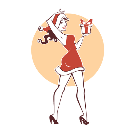 Pinup Marry Christmas and happy new year girl image Illustration