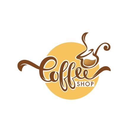 Conception de modèle de logo de café sucré, illustration vectorielle dessinés à la main avec composition de lettrage Logo