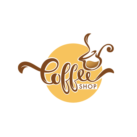 Sweet Coffee logo template design, vector hand drawn illustration with lettering composition Illustration