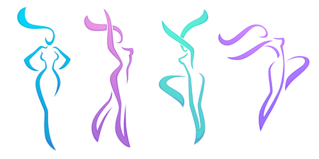 vector collection of abstract women in dancing poses