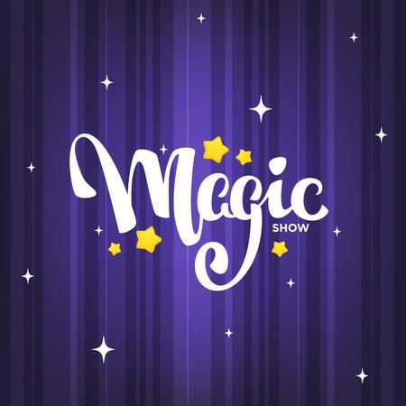 Zaubershow, Beschriftungskomposition auf magischem Hintergrund für Ihr Logo, Poster, Einladung Logo