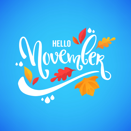 hello November, bright fall leaves and lettering composition flyer or banner template 向量圖像