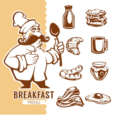 cartoon chef and breakfast food menu, linear objects collection Ilustração