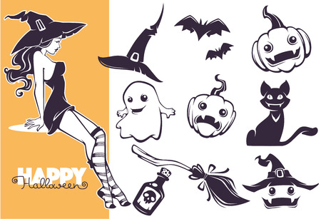 Happy Halloween line art objects collection for your greeting design Ilustracja