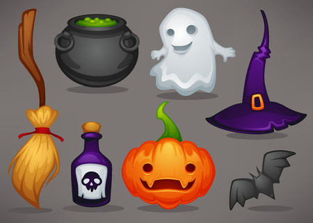 cute cartoon Halloween game icons and objects for your mobile game