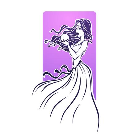 Magic Girl, fortune teller, beautiful woman reading future on crystal ball