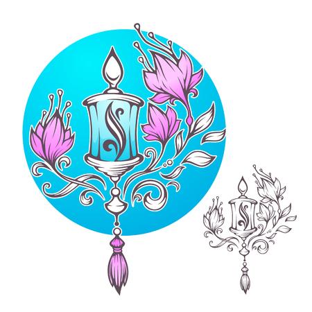 Magic Lantern, Boho chic romantic composition, hand drawn vector  for your print or decor Illustration