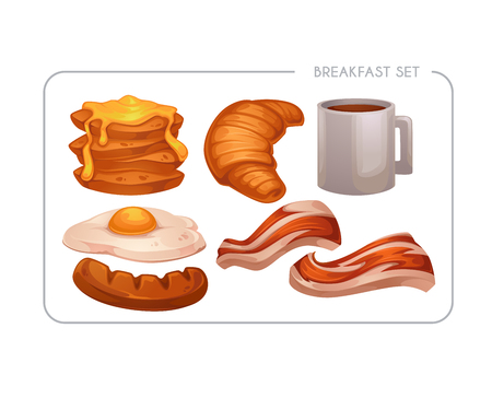 Happy Breakfast, vector cartoon food asset for your mobile game or app