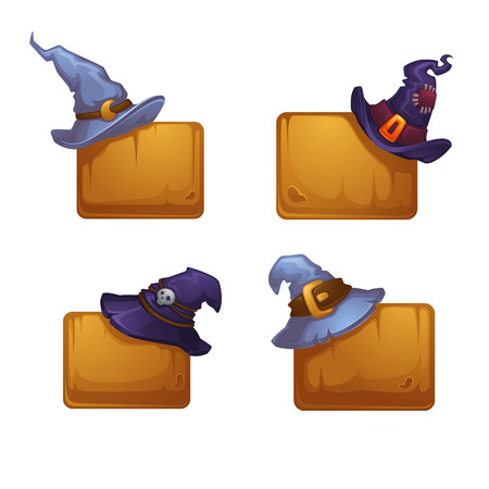 Vector Collection Of Cartoon Witch Hats on Wood Desk Banners For Your Halloween Design Çizim