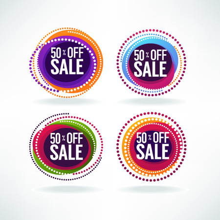 50 % off sale, vector collection of bright discount bubble tags, banners and stickers 向量圖像
